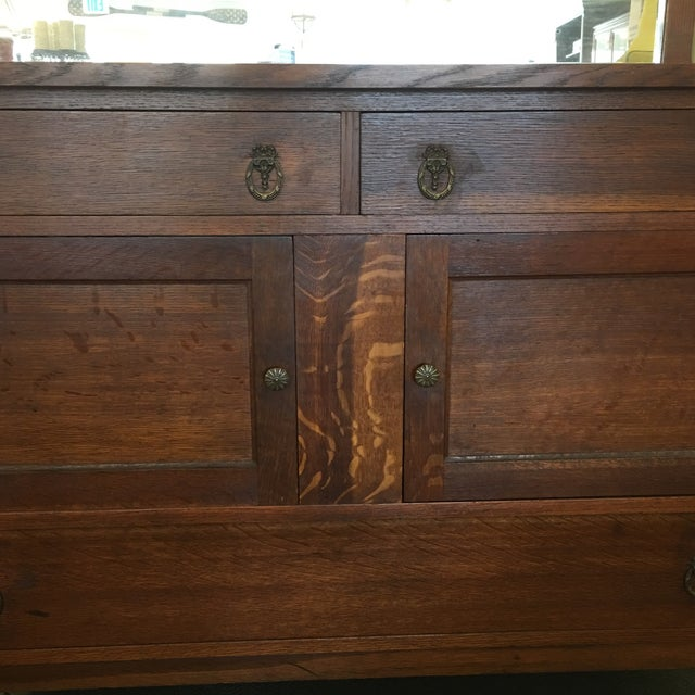 Vintage Tiger Grain Oak Sideboard - Image 3 of 10