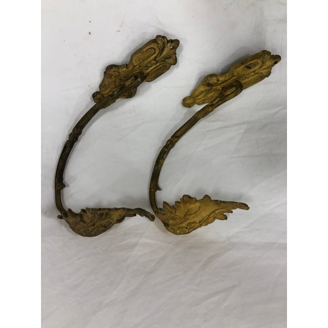Late 19th Century French Antique 19th Century Gilded Bronze Curtain Tie Backs or Hooks - a Pair For Sale - Image 5 of 5