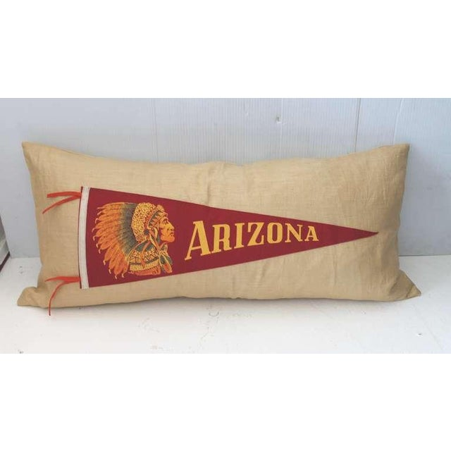 Amazing Arizona Indian chief pennant sewn on cotton linen in a large bolster form pillow. This cool pillow is down and...