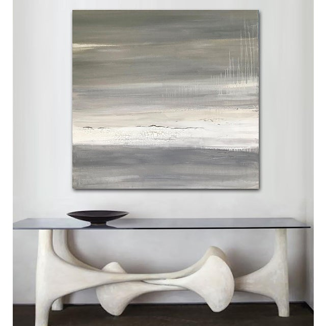 Beautifully neutral and monochromatic. Distressed, crackle detail and subtle metallic silver accents. This painting offers...