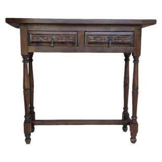 Spanish Baroque Carved Walnut Console Table With Two Drawers, Circa 1890 For Sale
