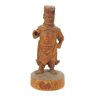 Chinese 19th C. Carved Wooden Figurine Scholar For Sale