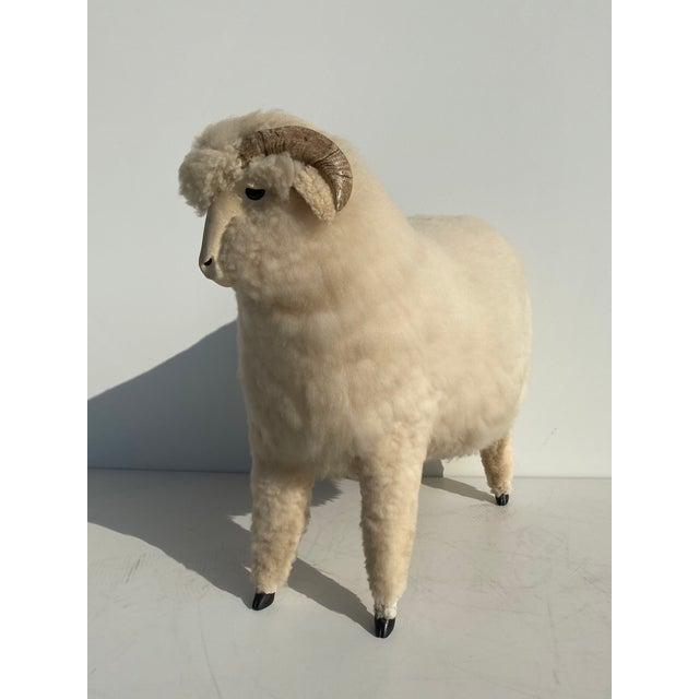 Mid-Century Modern Vintage Sheep Sculpture Footrest/Sculpture For Sale - Image 3 of 11