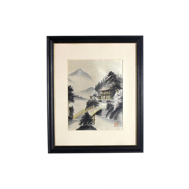 Cardboard Framed Early 1900's Japanese Pagoda Pictorial Entirely Hand Embroidered Silk, Signed For Sale - Image 7 of 7