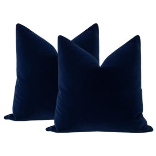 "22"" Sapphire Mohair Pillows - a Pair For Sale"