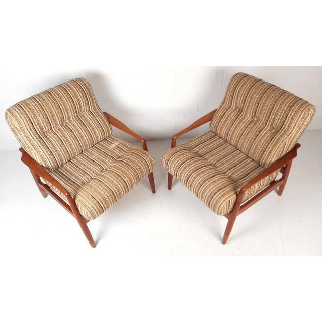 Mid-Century Modern Danish Teak Lounge Chairs - a Pair - Image 2 of 9