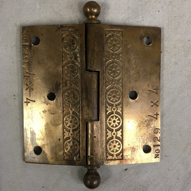 Antique Victorian Eastlake Brass Door Hinge For Sale - Image 4 of 11