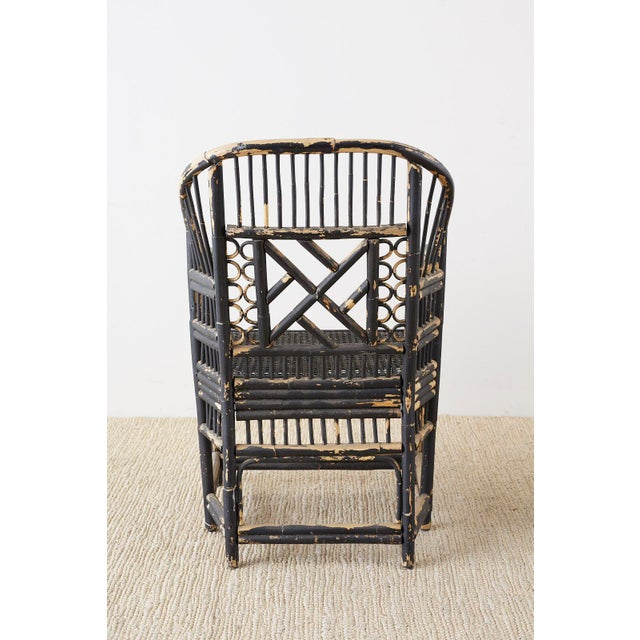 Brighton Bamboo Rattan Chinese Chippendale Lacquered Chairs For Sale - Image 12 of 13