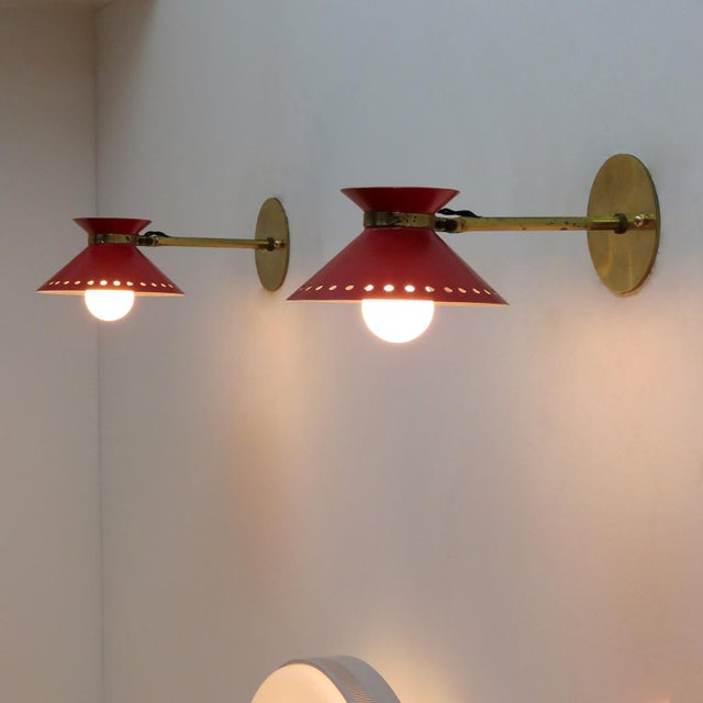 Mid-Century Modern Pair of Red Arlus Wall Lights, 1950s For Sale - Image 3 of 11
