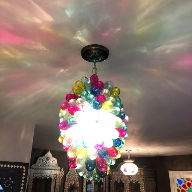 Contemporary Recycled Hand Blown Glass Gemstones Color Chandelier For Sale - Image 3 of 12