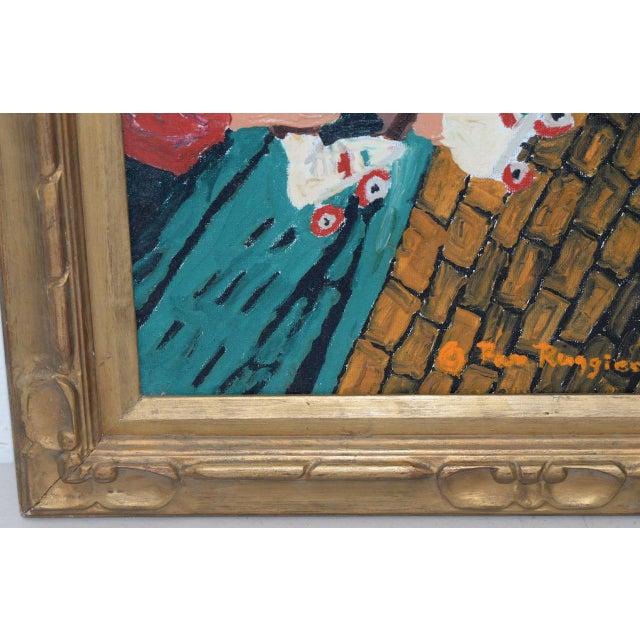 "Pamela Ruggiero ""Lacing Up Roller Skates"" Vintage Folk Art Painting c.1977 - Image 7 of 9"