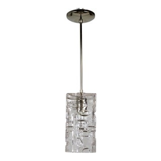 Contemporary Patterned Molded Glass Pendant W/ Brass Stem in Polished Nickel Finish For Sale