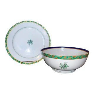 Large Chinese Export Porcelain Punch Bowl and Matching Plate, Mid 18th Century - a Pair For Sale