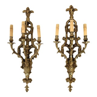 1910s Neoclassical Style Bronze Three Arm Wall Sconce Lights- A Pair For Sale