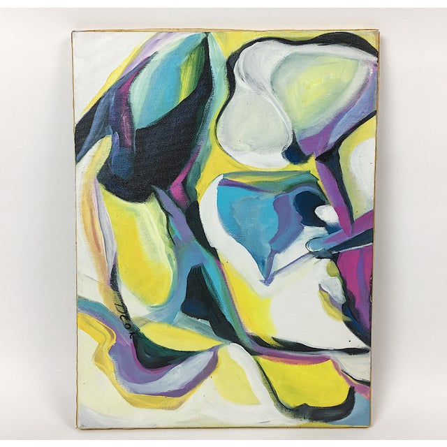 Abstract Deon Robertson Abstract Oil on Canvas Painting For Sale - Image 3 of 6