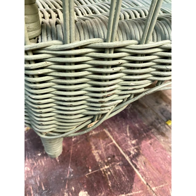 Vintage Light Green Painted Wicker Round Side Table For Sale - Image 12 of 13