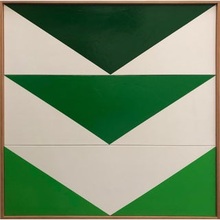 "Original Acrylic Painting ""Green Arrow Triptych Jet0577"" For Sale"