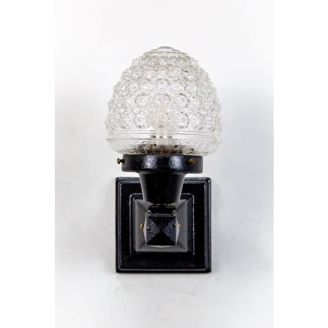 Glass Acorn Iron Mounted Sconces - A Pair For Sale - Image 9 of 11