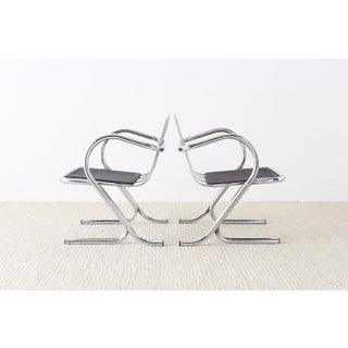 Set of Ten Jerry Johnson Midcentury Chrome Lounge Chairs Preview