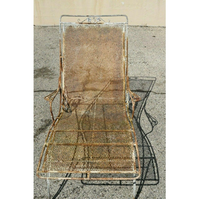 Mid Century Modern Russell Woodard Wrought Iron Patio Chairs- A Pair For Sale In Philadelphia - Image 6 of 13