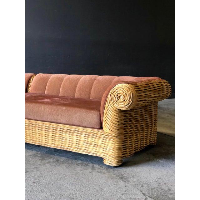 Mid-Century Modern Rattan 4 Piece Modular Sofa For Sale - Image 3 of 13