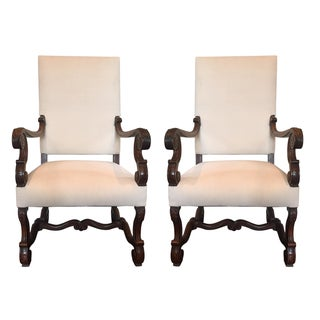 Antique Carved Wood Chairs - A Pair For Sale