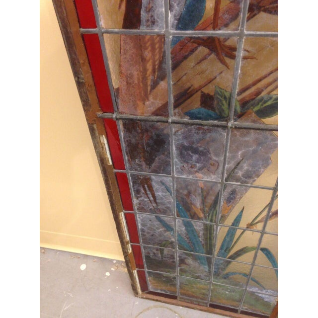Late 19th Century French Painted and Fired Stained Glass Windows - a Pair For Sale - Image 9 of 13