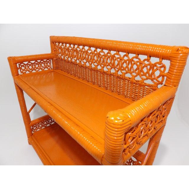 Mid Century Modern Orange Wicker Bathroom Shelf For Sale In Sacramento - Image 6 of 8
