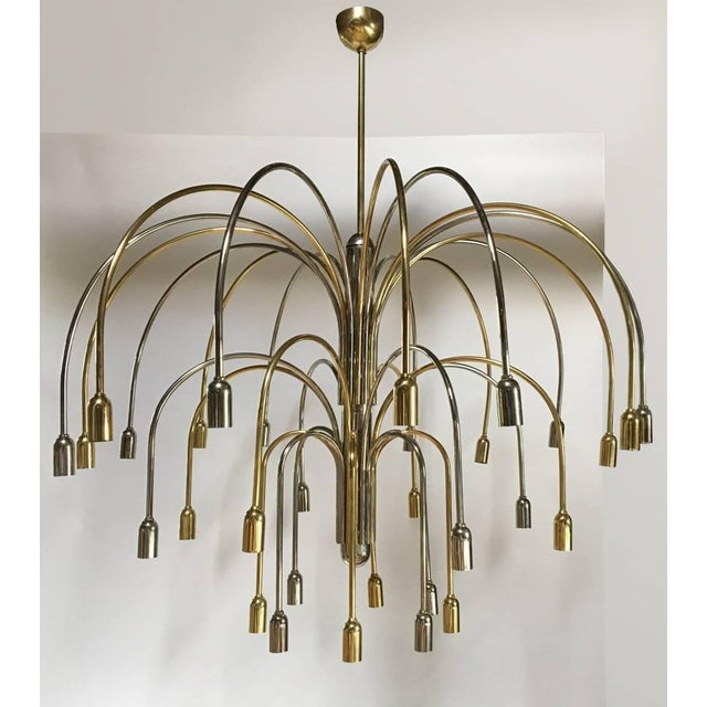 Modern Large German Brass and Chrome Chandelier For Sale - Image 3 of 4
