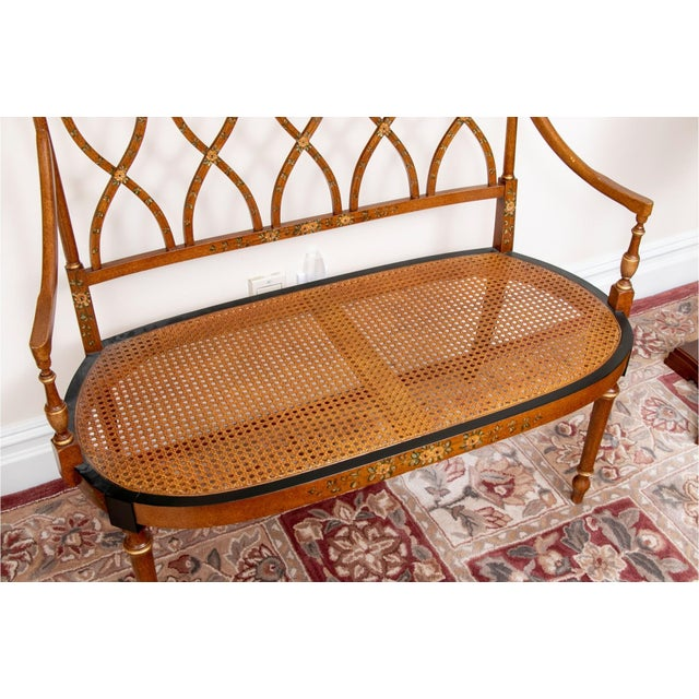 Early 20th Century Satinwood Hand-Painted Cane Settee For Sale - Image 4 of 12
