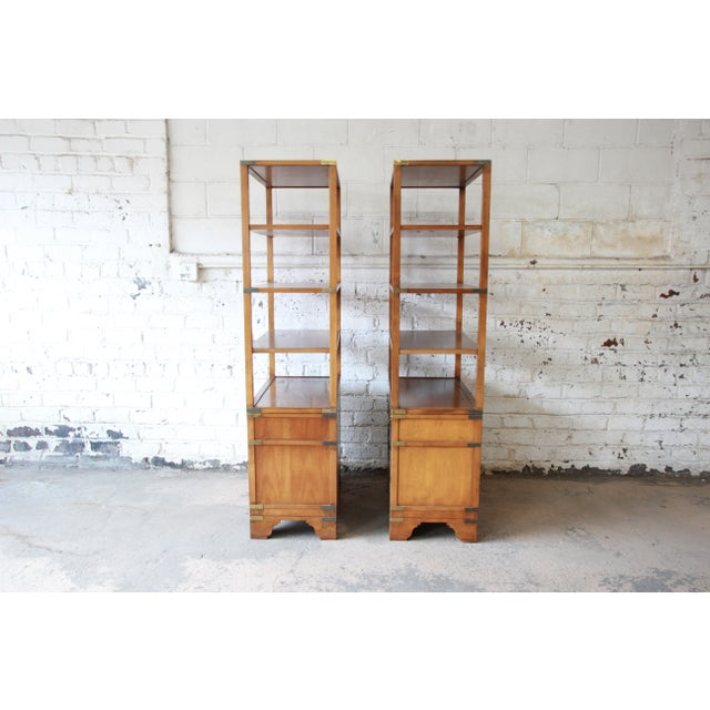 Michael Taylor for Baker Far East Collection Burl Wood Wall Units, Pair For Sale - Image 10 of 13