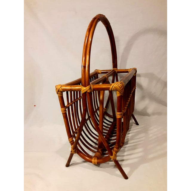 Mid 20th Century Vintage Mid Century Modern Franco Albini Style Rattan & Bamboo Magazine Rack For Sale - Image 5 of 8