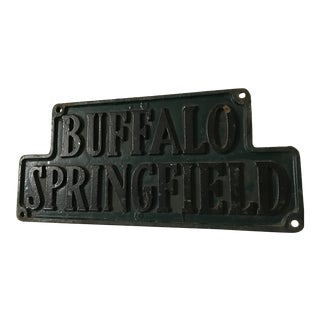 Vintage Rock and Roll Buffalo Springfield Original Cast Iron Plaque For Sale