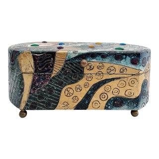 Vintage Art Deco Bejeweled Hand Finished Box For Sale
