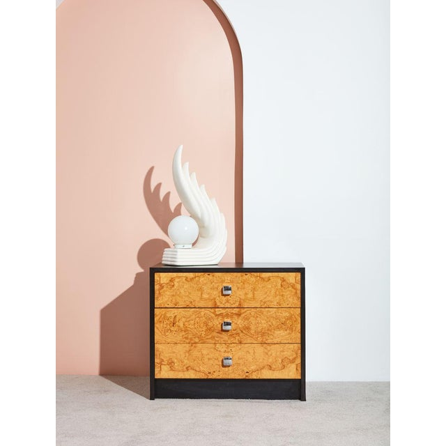 Mid-Century Modern Burl and Black Laminate Chest of Drawers For Sale - Image 3 of 4