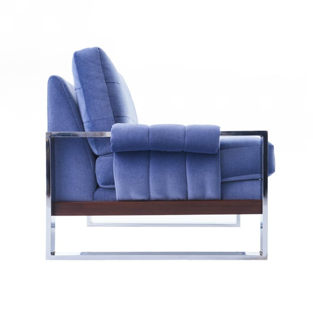 Craft Associates Adrian Pearsall for Craft Associates Mohair, Wood & Chrome Lounge Chair - a Pair For Sale - Image 4 of 9