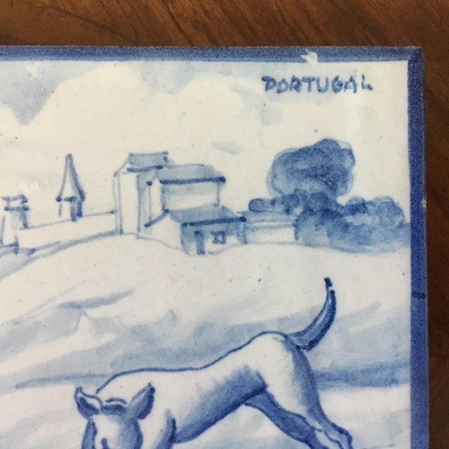 1900 - 1909 Vintage Portuguese Blue and White Tiles-A Pair For Sale - Image 5 of 8