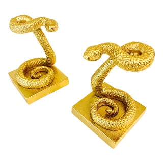 1980s Cast Metal Gold Snake Bookends - a Pair For Sale