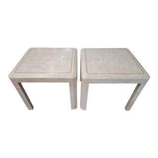 Late 20th Century Maitland-Smith Tessellated Side Tables With Brass Inlay - a Pair For Sale