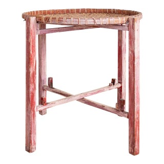 Antique Winnowing Basket Tray | Table Stand | Asian Rustic Primitive For Sale