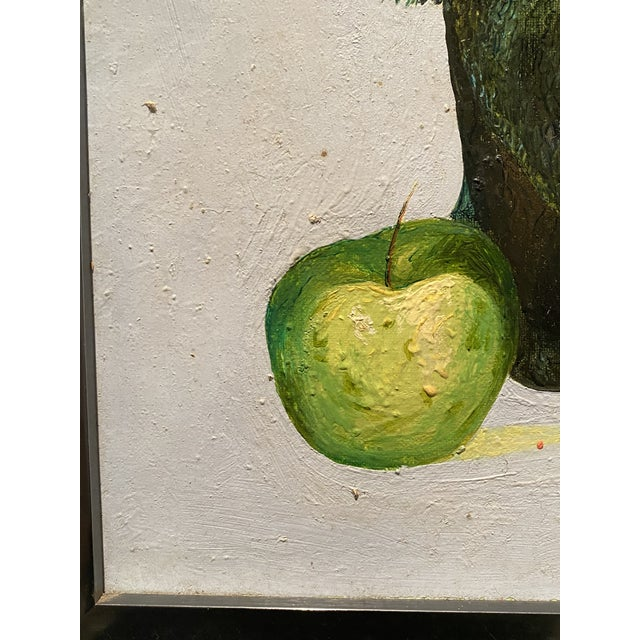 "1980s Original Self-Portrait by Artist Roman E. Johnson, ""Self-Portrait With Green Apples"" (1984) For Sale - Image 5 of 10"