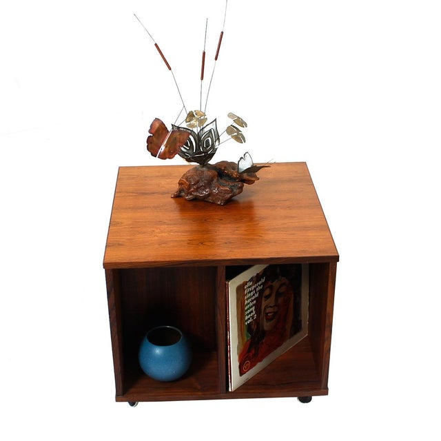 Danish Modern Rosewood Rolling Book Caddy Table - Image 5 of 5
