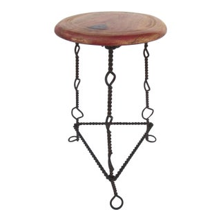Vintage Mexican Iron and Wood Vendor's Stool Industrial Side Table For Sale