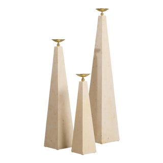 A Set of Three Maitland Smith Stone Veneered Obelisks 1980s For Sale