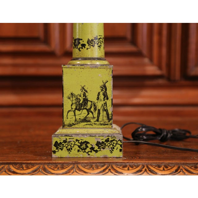 Metal 19th Century French Directoire Hand-Painted Green Tole Table Lamp For Sale - Image 7 of 10