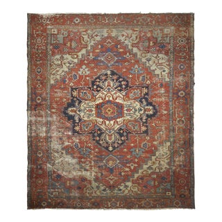 Circa 1900 Worn Antique Heriz Serapi Rug Carpet, Heavily Distressed For Sale