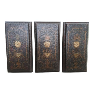 "Italian Interlude Home Leather Wall Art Panels Horchow Triptych 48"" - Set of 3 For Sale"