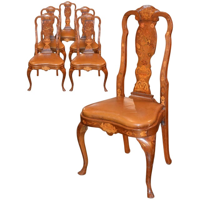 Set of Six 19th Century Dutch Marquetry Inlaid Dining Chairs For Sale