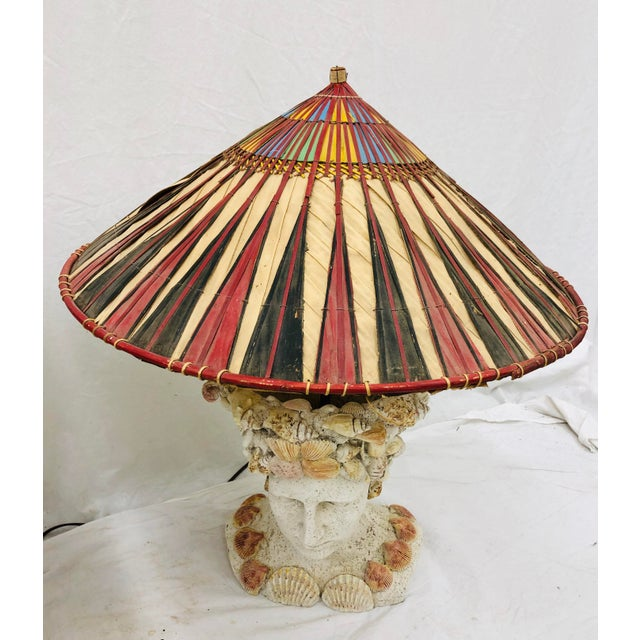 Pair Vintage Seashell Covered Bust Sculptural Lamps For Sale - Image 4 of 13