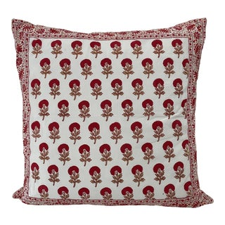 Red & White Indian Hand-Painted Blocked Pillow For Sale